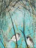Sparrows in thicket by Shirley Vauvelle, Painting, Acrylic on canvas