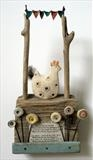 The Browney Hen by Shirley Vauvelle, Sculpture, Earthenware,driftwood,vintage text and wave worn canvas