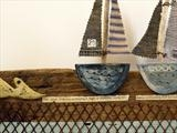Two boats and a big fish by Shirley Vauvelle, Ceramics, driftwood