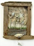 View from the shed by Shirley Vauvelle, Ceramics, earthenware and drftwood and vintage text