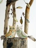 just the two of us by Shirley Vauvelle, Sculpture, earthernware,driftwood
