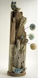 owl and little bird by Shirley Vauvelle, Sculpture, Earthernware, driftwood,vintage map.