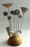 Bird & Flower Patch by Shirley Vauvelle, Sculpture, Earthenware, steel wire & vintage wooden boule