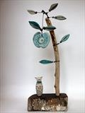 Cat and Big Apple by Shirley Vauvelle, Sculpture, Earthenware and driftwood