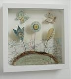 From Fields by Shirley Vauvelle, Ceramics, earthenware,driftwood and vintage map