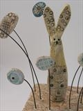Hare in garden paradise by Shirley Vauvelle, Sculpture, Earthernware,driftwood,vintage map