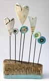 Hearts and Flowers by Shirley Vauvelle, Sculpture, Earthenware and driftwood