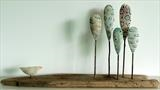 Little Bird and Very Tall trees by Shirley Vauvelle, Sculpture, Ceramic driftwood and steel