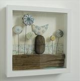 Little Bird of Ryedale by Shirley Vauvelle, Ceramics, Earthenware, driftwood and vintage map