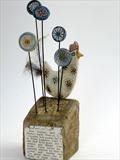 Little Hen by Shirley Vauvelle, Sculpture, ceramic driftwood vintage magagzine cutting