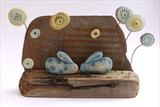 Meadow Rabbits by Shirley Vauvelle, Sculpture, Earthenware and driftwood