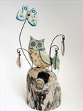 Owl and Butterfly by Shirley Vauvelle, Ceramics
