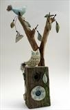 Owl and Little Bird by Shirley Vauvelle, Sculpture, Earthenware driftwood