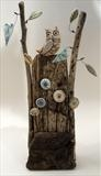 Owl with a view by Shirley Vauvelle, Sculpture, Earthenware,driftwood,wire