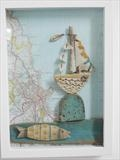 Sailing Past Brighton by Shirley Vauvelle, Ceramics, Earthenware, dritftwood,vintage map