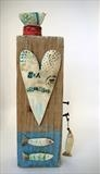 Sea Dreaming Bird & Fishes by Shirley Vauvelle, Sculpture, Ceramic driftwood and vintage map