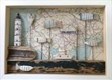 Shadow Box Frame by Shirley Vauvelle, Sculpture, Ceramic driftwood and vintage map
