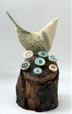 Singing Bird by Shirley Vauvelle, Sculpture, Earthenware and driftwood