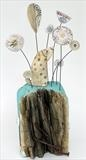 Sniffing the flowers by Shirley Vauvelle, Sculpture, Earthenware and driftwood