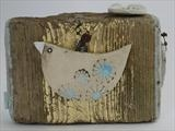 Sonnet Bird by Shirley Vauvelle, Sculpture, ceramic driftwood gold leaf