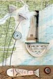 Summer Time Sailing by Shirley Vauvelle, Ceramics, Ceramic driftwood and vintage map