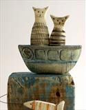 Tabby'S Fish Watching by Shirley Vauvelle, Sculpture, Earthenware,driftwood