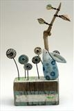 Woodland Gazing by Shirley Vauvelle, Sculpture, Earthenware,driftwood, vintage map