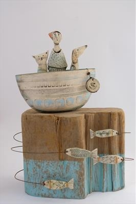 Singing Songs Of The Sea by Shirley Vauvelle, Sculpture, Earthenware and found wave worn wood