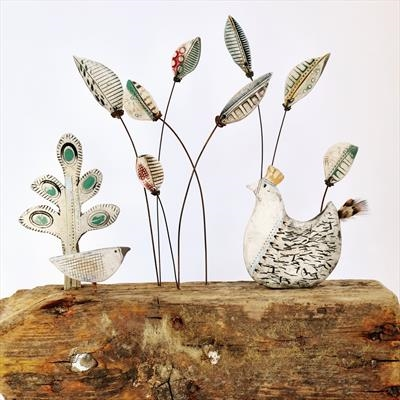 Spring Day by Shirley Vauvelle, Sculpture, Earthenware and found materials